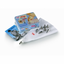 1950's Icing Bag Set In Tin, With 8 Nozzles and Icing Booklet