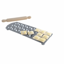 Alum. ravioli maker 24 rd. holes 40x40, with rolling pin